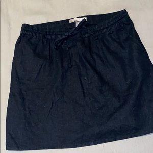 High waisted black tie skirt